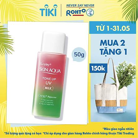 Sữa Chống Nắng Nâng Tông Dành Cho Da Dầu/Hỗn Hợp Sunplay Skin Aqua Tone Up UV Milk Happiness Aura (Rose) (Cho Da Sáng Hồng, Khuyết Điểm Xanh) (50g)