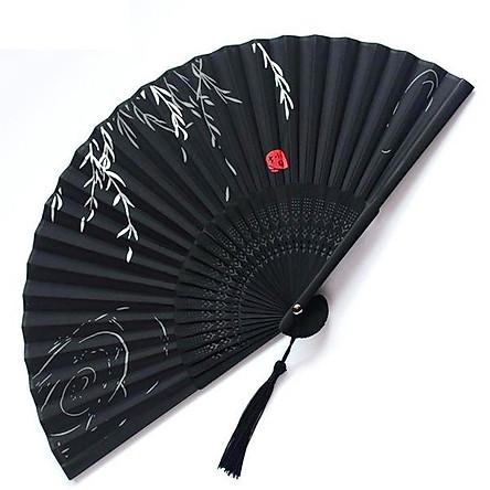 Quạt cổ trang dây tuyến lá liễu ven hồ quạt xếp cầm tay phong cách Trung Quốc quạt trúc cầm tay quạt cổ trang in hoa trang trí tặng ảnh thiết kế vcone