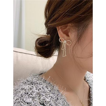 Khuyên tai ĐÁ THẮT NƠ bông tai nữ thiết kế sang trọng xinh xắn