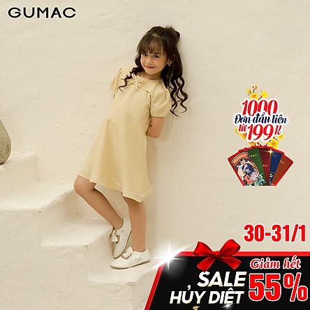 Đầm váy bé gái DKA1093 GUMAC thiết kế  cổ tròn đính nơ