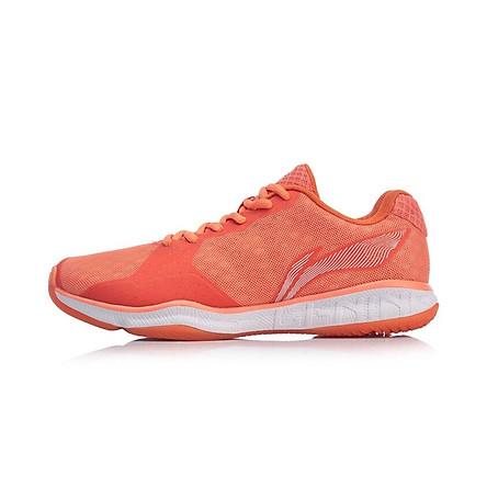 Giày cầu lông Lining nữ AYTP014-2 mẫu mới, full box, thiết kế ôm chân, trọng lượng nhẹ, màu hồng cam hàng chính hãng đủ size