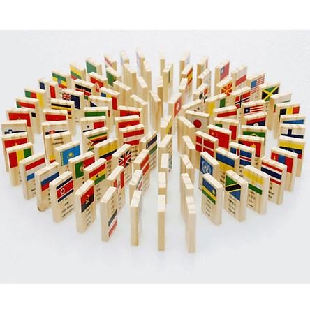 100 Quân Domino Cờ Các Quốc Gia, Xếp Hình Tập Nhận Biết Quốc Kì, Đồ Chơi Bằng Gỗ Tự Nhiên - Hàng Chính Hãng miDoctor