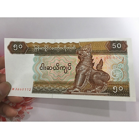 Tiền 50 Kyats của Myanmar , tặng phơi nylon bảo quản tiền