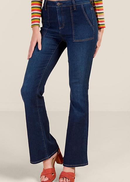 Quần Jeans Nữ A91 JEANS Ống Loe 042 (Xanh đậm)