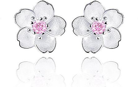 Hoa tai bạc 925 Hoa Mai cao cấp đính đá pha lê - Trang sức panmila (HT.Z031.B)