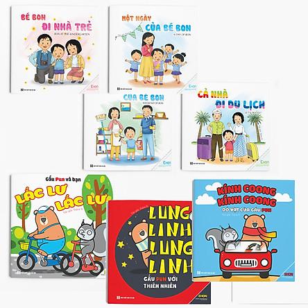 Combo (7 cuốn) Ehon Âm thanh và Kỹ năng: Bé Bon và Gấu Pun (Dành cho trẻ 0-6 tuổi)