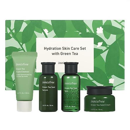 (Phiên bản giới hạn) Bộ sản phẩm chăm sóc dưỡng ẩm da Innisfree Hydration Skin Care Set with Green Tea
