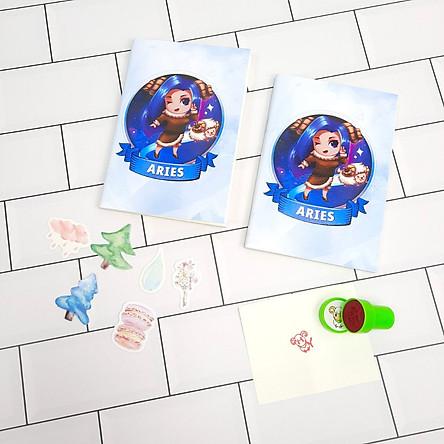 Bộ Sưu Tập Cá Tính Cung Hoàng Đạo Gồm 2 Sổ Tay Và 1 Con Dấu Tặng Kèm 6 Sticker Mini Mẫu Ngẫu Nhiên - Cung Bạch Dương