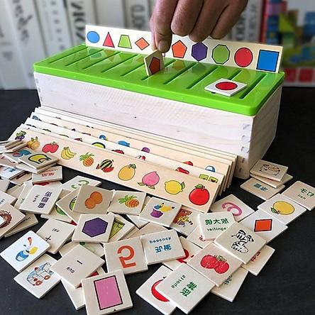 Đồ chơi thông minh, Game thả hình khối bằng gỗ tự nhiên 100% phân loại theo chủ đề động vật, hoa quả, đồ vật, số đếm, màu sắc, hình khối giúp phát triển trí tuệ cho bé – Tặng Kèm Móc Khóa 4Tech.