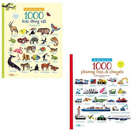 Bộ 2 cuốn cẩm nang dành cho bé khám phá thế giới xung quanh: 1000 Phương Tiện Di Chuyển - 1000 Loài Động Vật