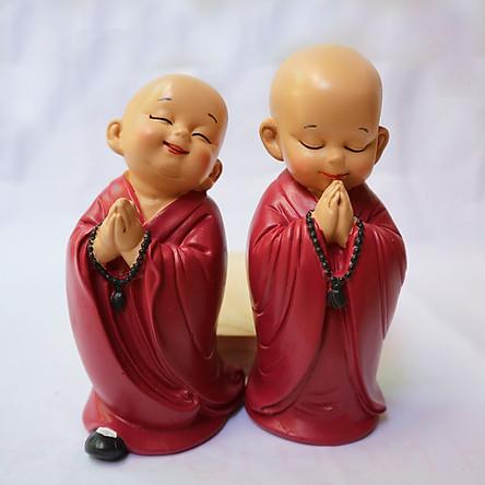 Bộ tượng 2 Chú tiểu vui vẻ chắp tay