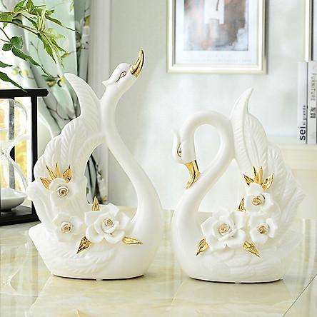 Đôi thiên nga sứ trắng cao cấp phối hoa hồng