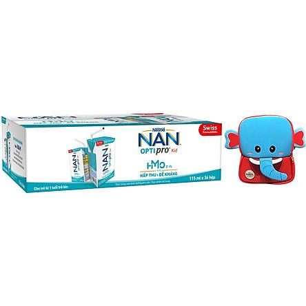 Thùng 36 hộp Nestlé® NAN® OPTIPRO® Kid Hộp pha sẵn 115ml (36x115ml) + Tặng Balo con voi