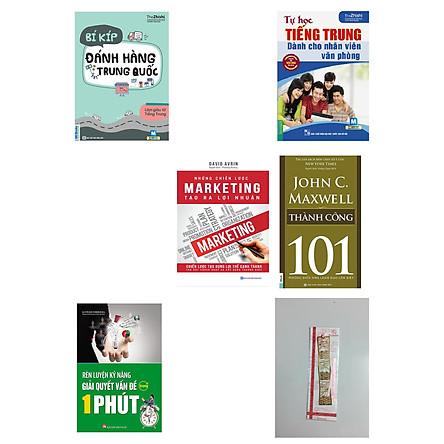 Combo 4 quyển: Bí kíp đánh hàng tại Trung Quốc + Tự học tiếng trung dành cho nhân viên văn phòng+ Những chiến lược marketing tạo ra lợi nhuận + Rèn luyện kỹ năng giải quyết vấn đề trong 1 phút.(tặng cuốn 101 thành công kèm bookmark kim loại)