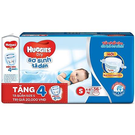 Tã Dán Sơ Sinh Huggies Dry Newborn S56 (56 Miếng) - Tặng 4 miếng