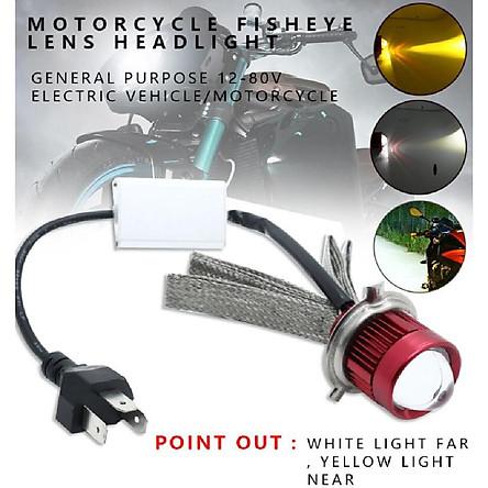 Motorcycle Led H4 Mini Bi-LED Headlight Lens Moto 4800LM Hi Lo White Yellow Double Color Scooter ATV Accessories Fog Lights