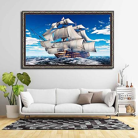 Tranh canvas phong thủy treo tường - Thuận buồm xuôi gió - TBXG016 - Khung hoa văn sang trọng - 150x90cm