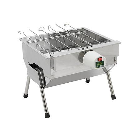 Bếp nướng than hoa V5S, quay tự động, dùng sạc dự phòng, lò quay vịt: Đa năng, chín đều, an toàn sức khỏe, inox bền đẹp, bếp nướng tự xoay, lò nướng than