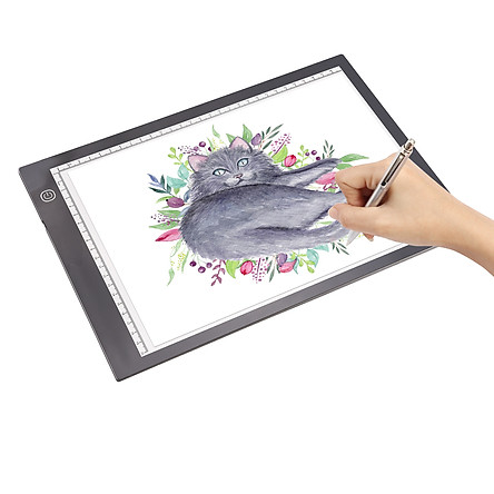 A4 LED Light Pad Tracer 3mm Ultra-Thin Drawing Board Copyboard Stepless Dimming USB Powered with Scales for Artist