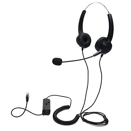 Handsfree Call Center Noise Canceling Binaural Headset RJ9 with Microphone