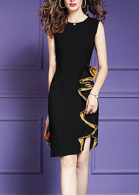 Đầm ôm dự tiệc đủ size kiểu đầm phối cách điệu tà bèo kim sa vàng GOTI3048