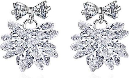 Bông tai nữ Hoa pha lê bông tuyết trắng