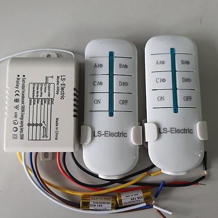Bộ công tắc điều khiển từ xa 4 cổng 2 điều khiển LS khoảng cách 30M sóng RF 315 xuyên tường rf 4 cổng