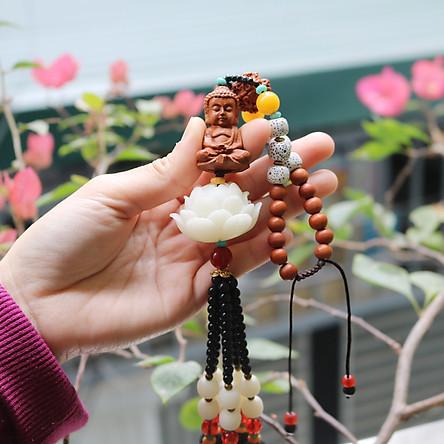 Dây treo xe ô tô Phật Thích Ca - Gỗ Hoàng Dương - Cầu bình an, may mắn - Thượng lộ bình an