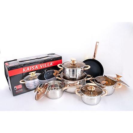 Bộ nồi KAISA VILLA - 6 món 12 chi tiết công nghệ Đức - mã KV-6691 - Thích hợp cho mọi loại bếp (đặc biệt bếp từ) - Loại không có đồng hồ đo áp suất