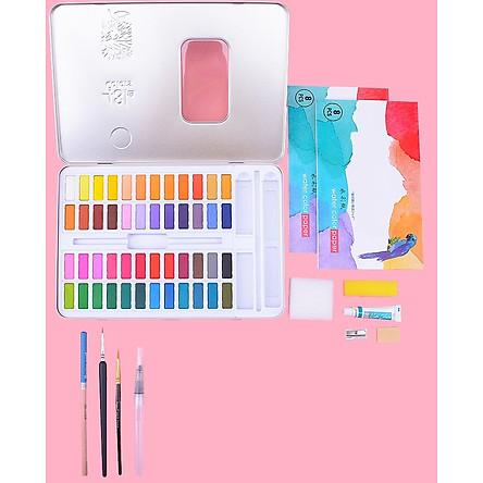Màu nước dạng nén cao cấp G4800 set 48 màu đi kèm bộ dụng cụ dành cho vẽ tranh màu nước