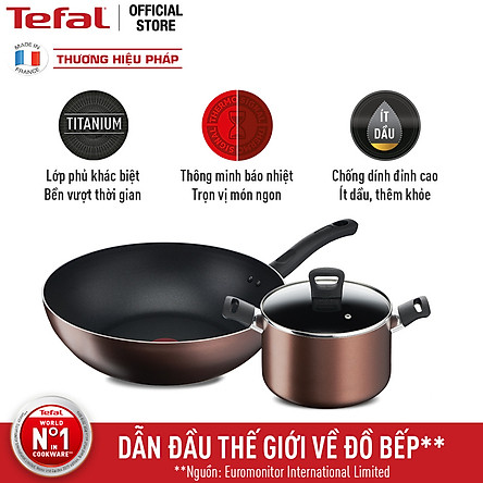 Combo Nồi thân cao Tefal Day By Day 22cm G1436105 và Chảo xào Tefal Day By Day 26cm G1437705