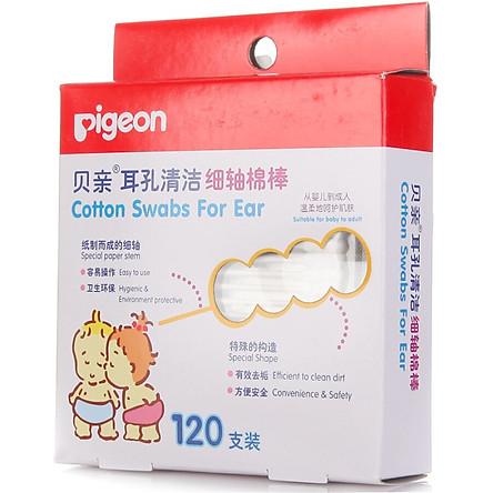 Tăm Bông Lấy Ráy Tai Pigeon KA03 Cho Bé (120 Cái/Hộp)