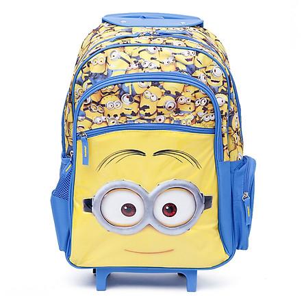 Balo kéo trẻ em 16'' hình Minions với nhiều minion nhỏ siêu đáng yêu màu vàng xanh dương dành cho học sinh ,bé trai - BLKMI16VX (35x18x42cm)