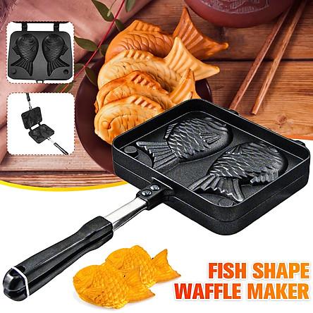 Mini Portable Non-Stick Fish Shape Waffle Maker DIY Waffle Pan Cake Baking Breakfast Machine