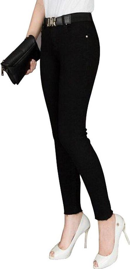Quần jean nữ đen trơn vải mềm co giãn tốt thoáng khí