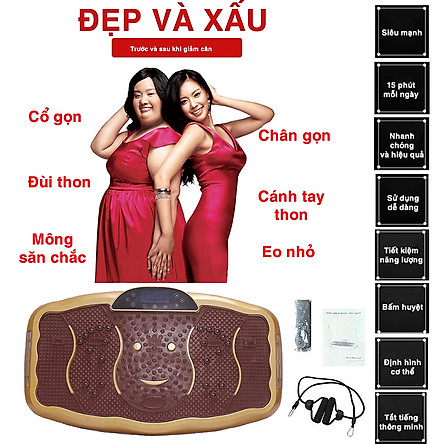 Máy Rung Giảm Cân - Máy Rung Lắc Massage Toàn Thân - 20 Tốc Độ Rung Lắc Mạnh, Dây Tập, Kết Hợp Nhạc MP3 - HDSD Bản Tiếng Anh.
