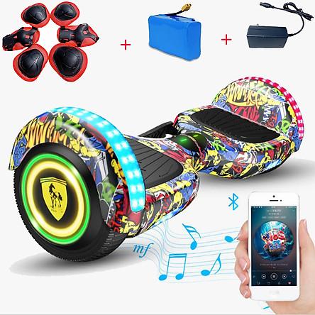 [Tặng Pin Rời - Sạc - Bộ Bảo Vệ Tay Chân] Xe Điện Tự Cân Bằng Mẫu Mới Bánh 6.5 inch, Xe Điện 2 Bánh Tự Cân Bằng, Xe Thăng Bằng Điện Dành Cho Cả Người Lớn Và Trẻ Em - Tích Hợp Đèn LED bánh & gầm xe, Nhạc Bluetooth [Giao Màu Ngẫu Nhiên] - Hàng Chính Hãng.