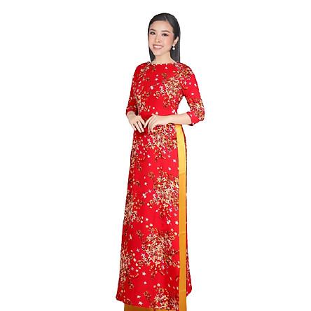 set áo dài truyền thống hoa vàng nền đỏ
