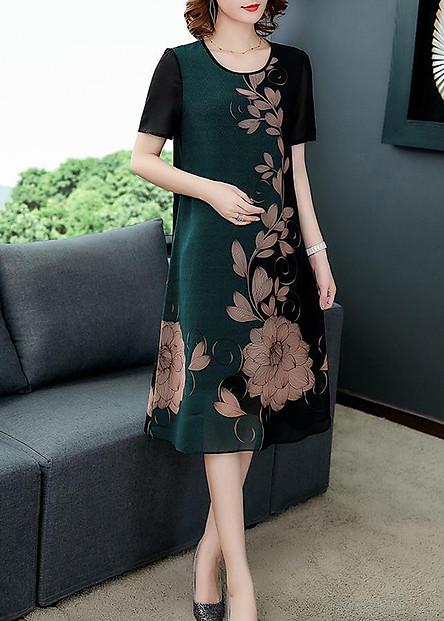 Đầm Suông Voan Nữ Đẹp In Họa Tiết Liên Hoa Kiểu Đầm Suông Thời Trang Trung Niên Cho Người Mập Từ 53-78Kg ROMI 3226