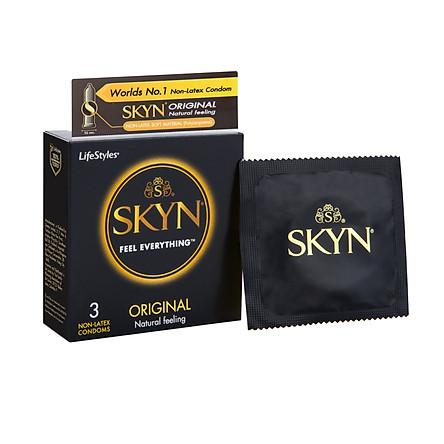 Bao cao su LifeStyles SKYN Original Non-latex cao cấp không mùi cao su không gây dị ứng ( 3 Cái / Hộp ) - Xuất xứ Úc ( Hàng Chính Hãng )