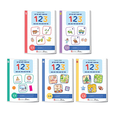 Bộ sách 05 cuốn Phát triển kĩ năng ( Biên soạn theo chương trình mầm non mới): Vở nhận biết và tập viết 123 qua các trò chơi trí tuệ (3+)
