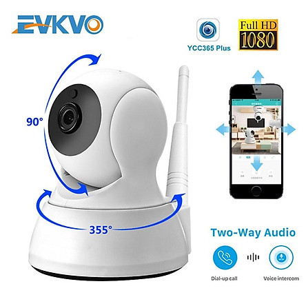 EVKVO - FREE Power Adapter - YCC365 PLUS APP Rotate Wireless HD 1080P Mini WIFI PTZ IP Camera CCTV Auto Tracking Network Home Security Surveillance Camera IR Night Vision Baby Monitor Motion Detection Alarm Two Way Audio CCTV IP