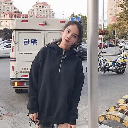 Áo Hoodie Nữ Form Rộng Tay Dài Chất Nỉ Bông Kéo Khóa Phong Cách Unisex - FM1GV003
