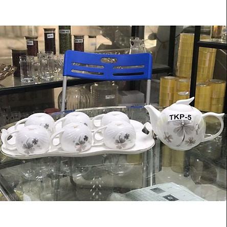 Bộ bình trà cốc kèm khay men sứ xương hàng cao cấp
