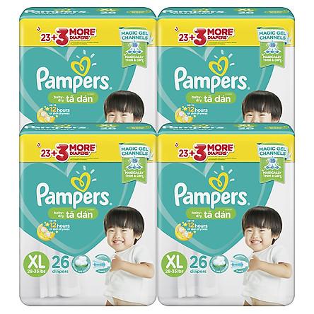 Combo 4 Tã Dán Pampers Baby Dry Gói Đại M34/L30/XL26