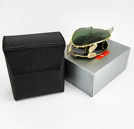 Mắt kính râm nam gấp DKYRBGX, tròng thủy tinh phân cực chống tia UV. Gọng kim loại gập gọn tiện lợi