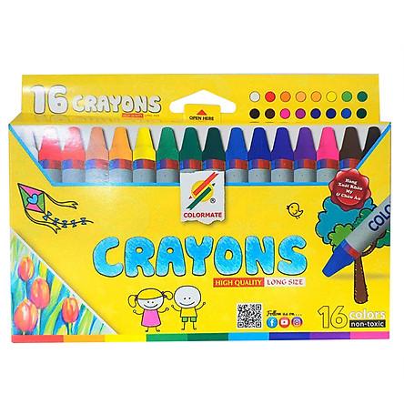 Bút Sáp Màu 16 Cây Hộp Giấy Colormate - CRAYONS-16P