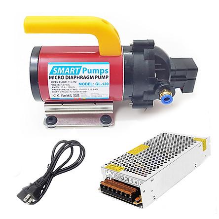 Máy bơm áp lực mini xịt rửa vệ sinh máy lạnh rửa xe tưới cây 12V 120W Smartpumps kèm nguồn điện