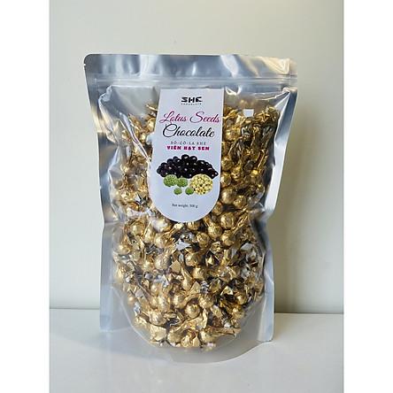 Kẹo Socola Hạt  Sen Túi 500g SHE Chocolate - Đcặ biệt Giòn Tan - Đồ ăn vặt từ socola đen cung cập năng lượng