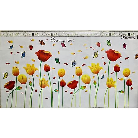 Decal trang trí tường hoa tulip sắc màu - decal trang trí phòng khách - phòng ngủ - khách sạn Binbin PK35